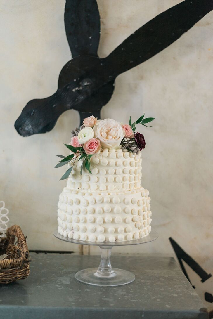 Buttercream Polka Dot Cake with Rose Cake Topper