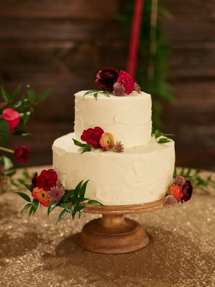Textured Buttercream Cake with Ranunculus Clusters