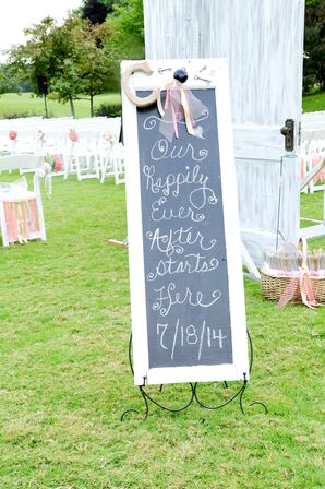 White Washed Chalkboard Sign