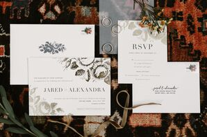 Modern Invitation Suite with Bold Typography and Floral Illustration