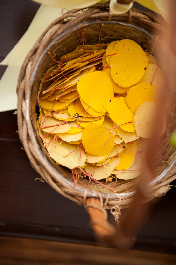 Yellow Aspen Leaf-Filled Flower Girl Basket