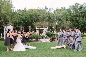 Charcoal Knee-Length Chiffon Bridesmaid Dresses