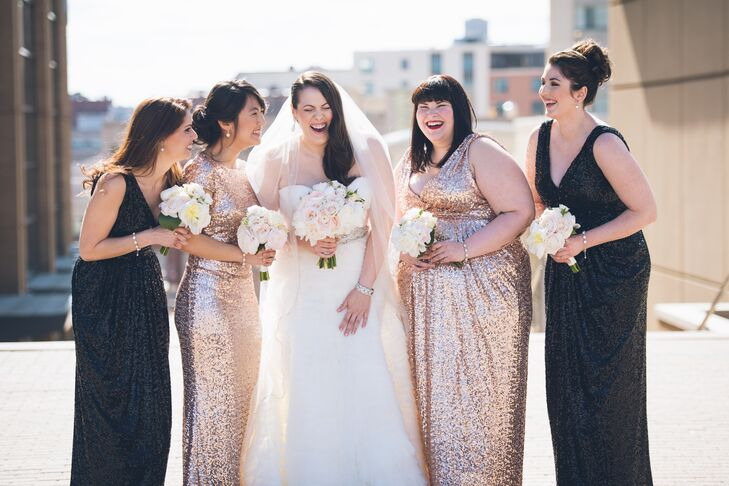 "Each bridesmaid brought out the couple's ""Old Hollywood"" inspiration with a Badgley Mischka, floor-length sequin dress from Rent The Runway. ""I did not want these beautiful ladies to be too uniform, so I gave them a choice of black sequin or rose gold sequin,"" says Pamela. They jazzed up the looks with different hairstyles, delicate drop earrings and matching bracelets."