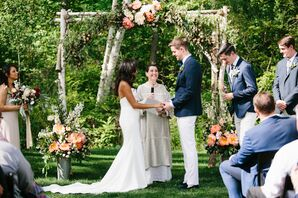 Birch Wedding Arch with Bright Coral Peonies
