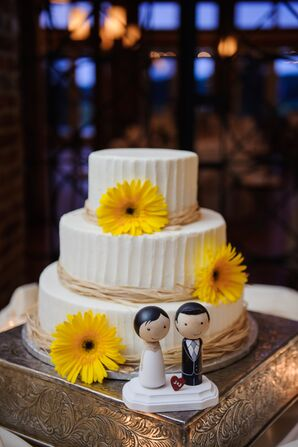 Yellow Gerbera Daisy Decorated Wedding Cake