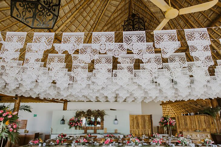 Hanging Papel Picado at Reception