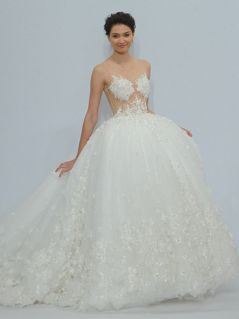Randy Fenoli Spring 2018 White Ball Gown With Illusion Sweetheart Bodice Sheer Midriff And 3