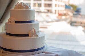 Seashell and Polka-Dot Wedding Cake
