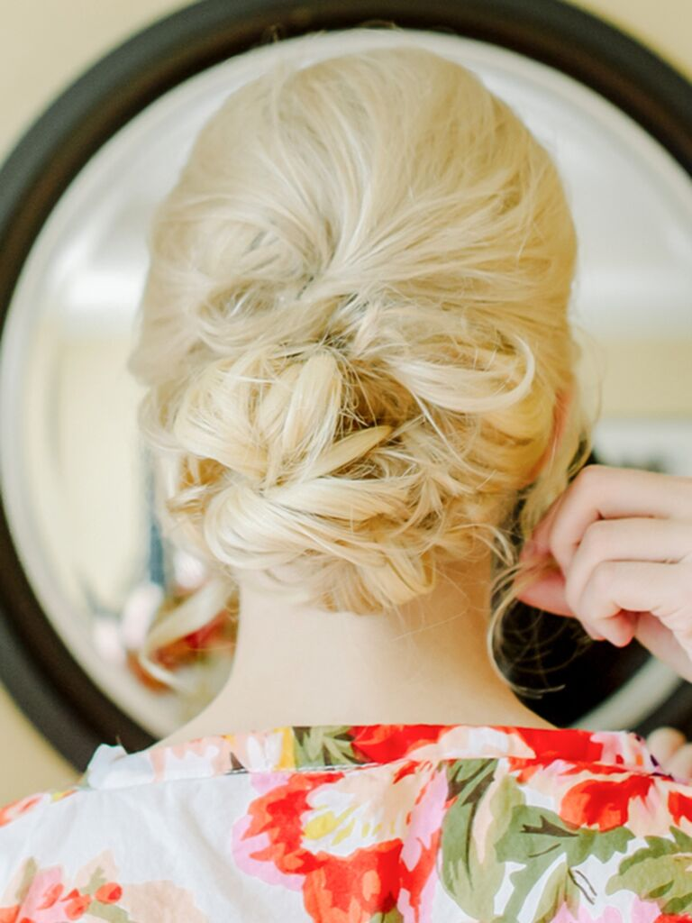 Messy loose updo wedding hairstyle