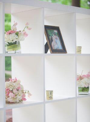 Modern Photo Display with Fresh Flower Arrangements
