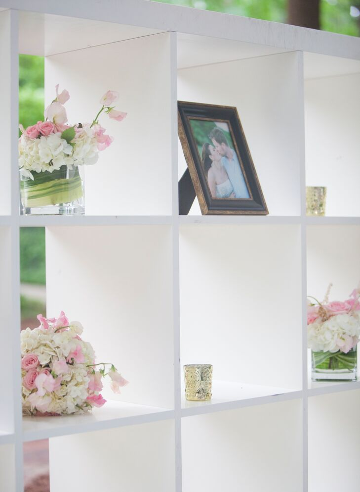 Modern Photo Display with Fresh Flower Arrangements