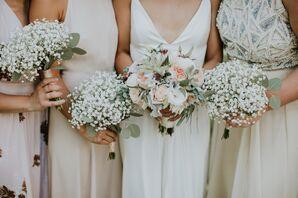 Bridal Bouquet of Juliet Garden Roses, Eucalyptus and Succulents