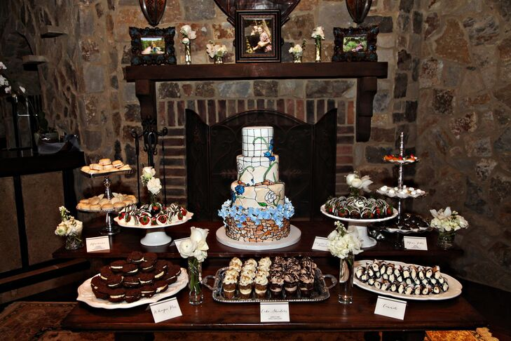 A dessert table was set up at the reception and featured macaroons, cupcakes, cannoli, chocolate-dipped strawberries and cookies in addition to a wedding cake.