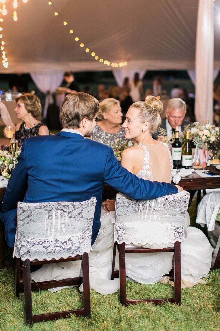 Mr. and Mrs. Sweetheart Chairs with Lace Covers