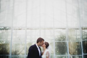 Bride and Groom at Their Philadelphia Horticultural Center Wedding