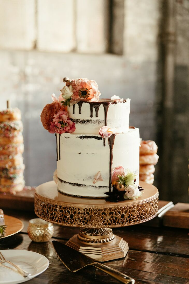 Semi-Naked Wedding Cake with Chocolate Drip on Golden Cake Stand