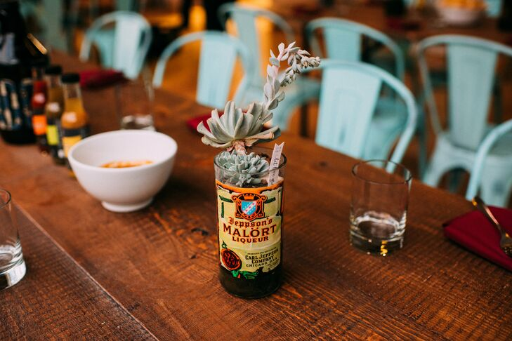 Succulent Centerpiece in Liquor Bottle