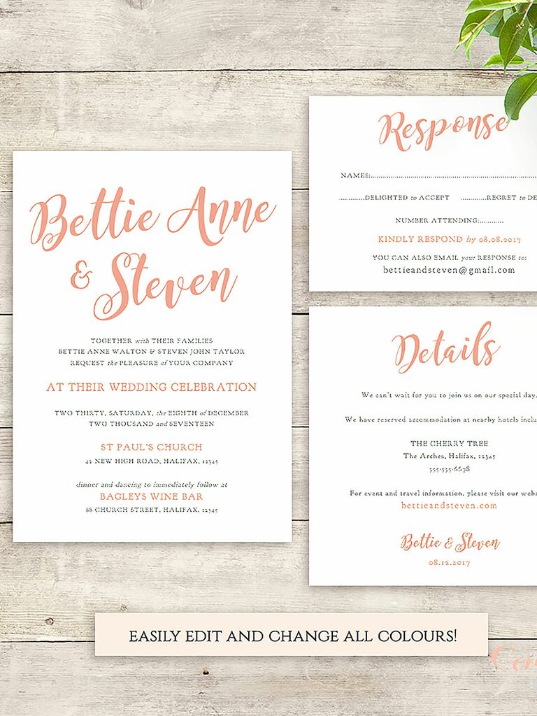 16 printable wedding invitation templates you can diy calligraphy font wedding invitation printable connie and joan stopboris Images