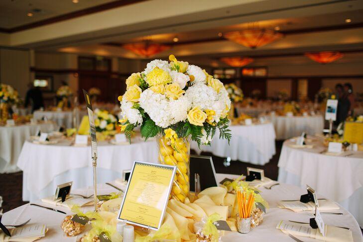 Yellow And White Wedding Reception Decor