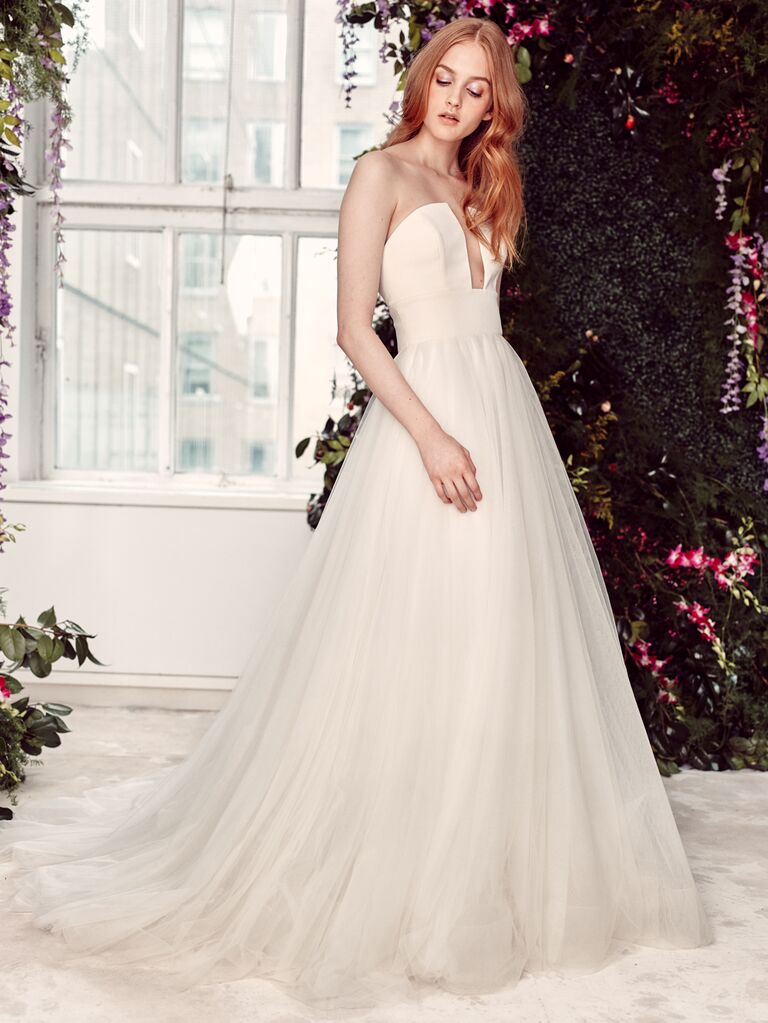 Alyne by Rita Vinieris Spring/Summer 2020 Bridal Collection strapless A-line wedding dress with plunging neckline