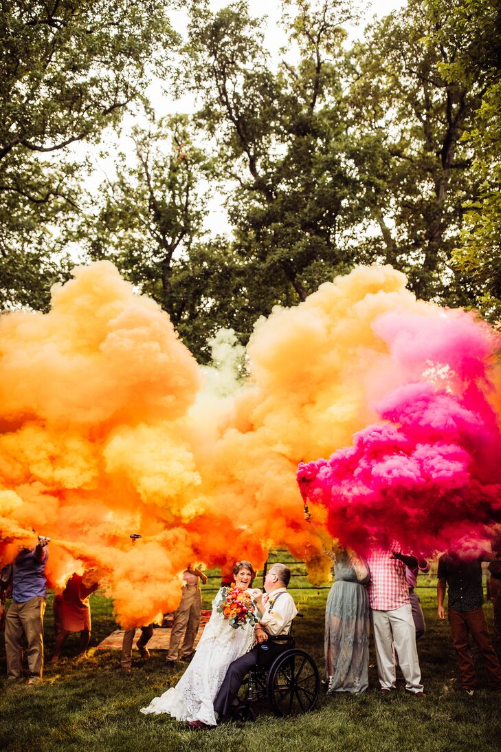 Bohemian Couple with Colorful Smoke Bombs
