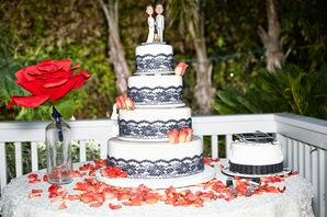Ivory Cake, Coral and Navy Accents