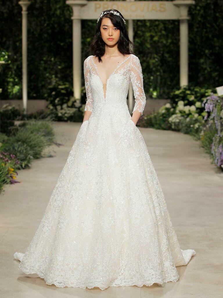 2922b00a2d54 Pronovias Spring 2019 3 4 sleeve embellished wedding dress with pockets