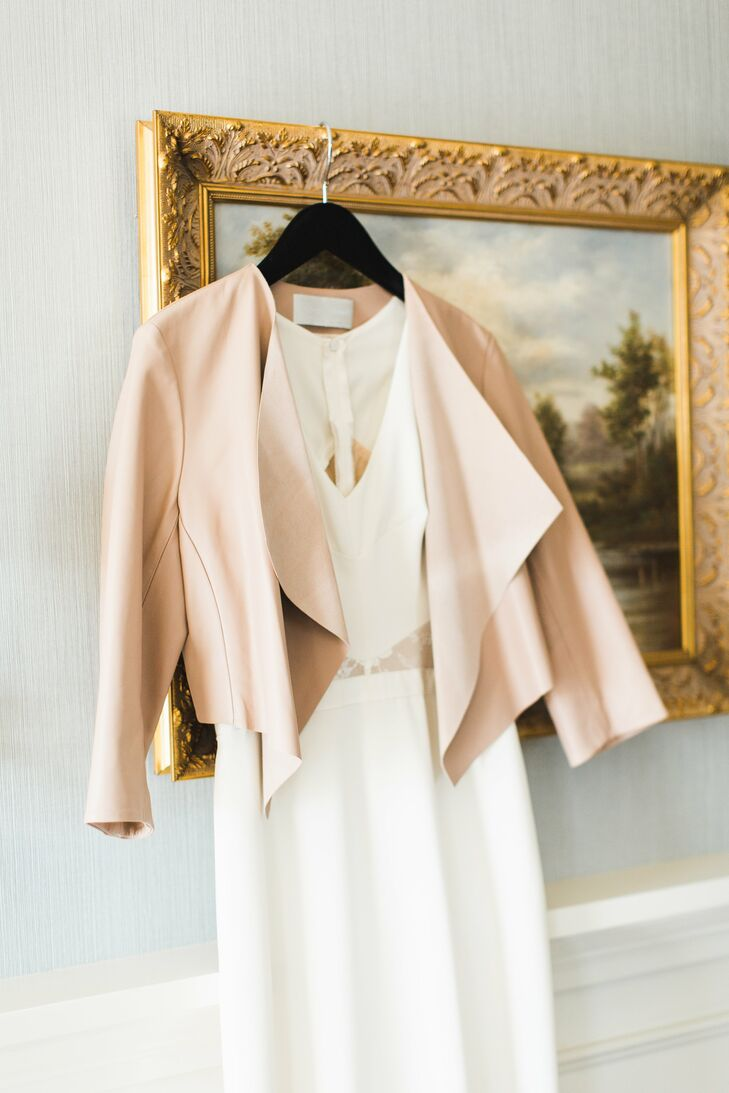 Wedding Dress Paired with a Blush Leather Jacket