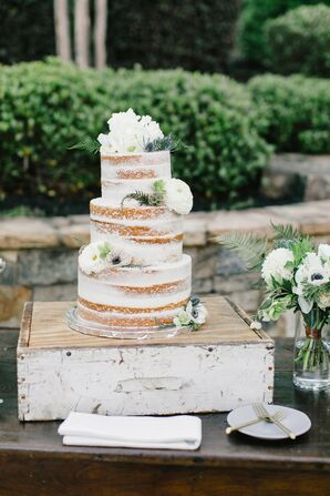 Semi-Naked Cake on Rustic Wood Stand