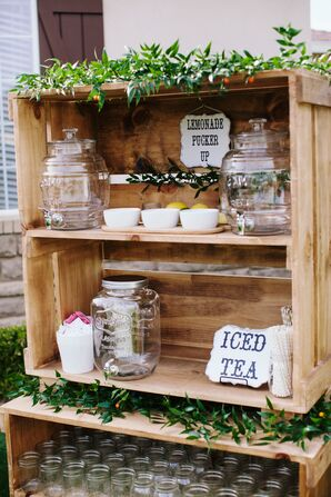 Rustic Refreshments Area in Pine Wood Display