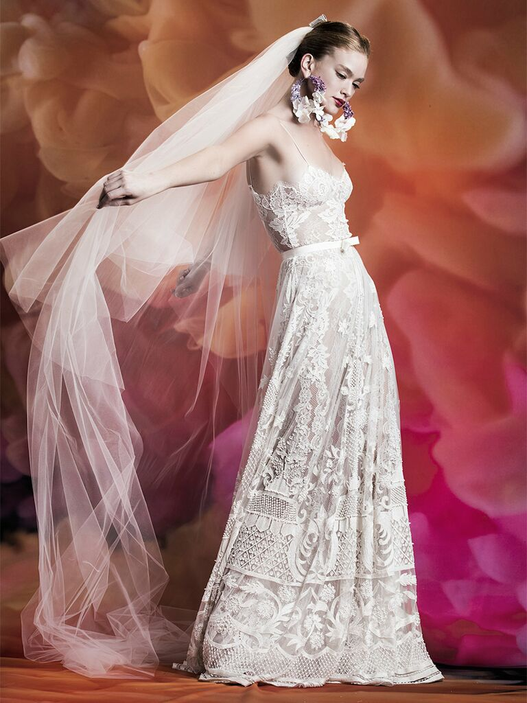 Naeem Khan wedding dress lace a-line gown with skinny straps