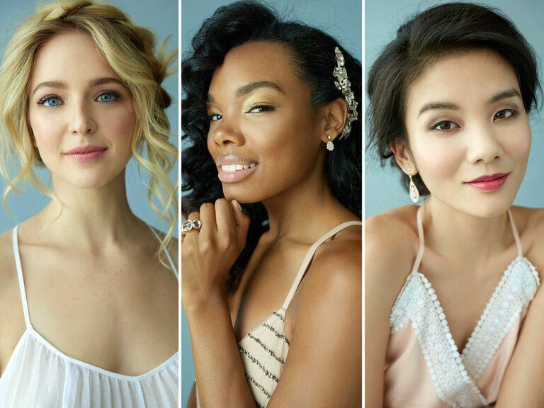 boho, glam and romantic bridal makeup