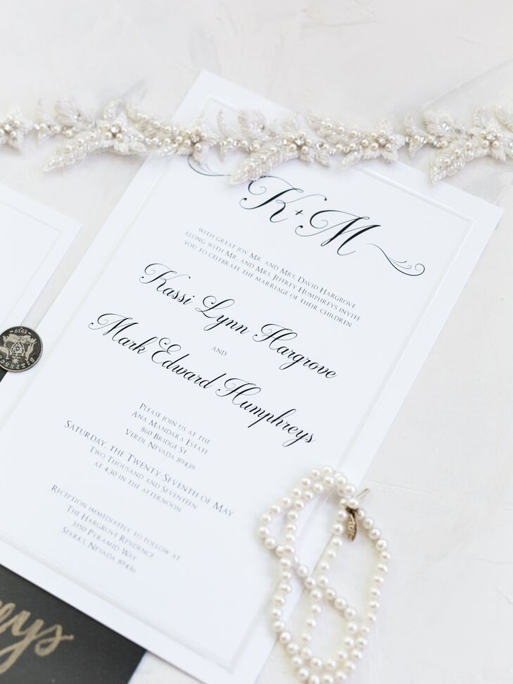 Kassi's friend Kate VanHoff designed the the couple's invitations, menus and programs. All followed a simple, elegant theme: black calligraphy on ivory paper.