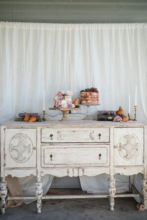 Vintage, Whitewashed Cake Table Display