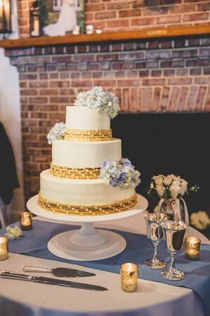 White Wedding Cake With Sweetgrass Basket Accents
