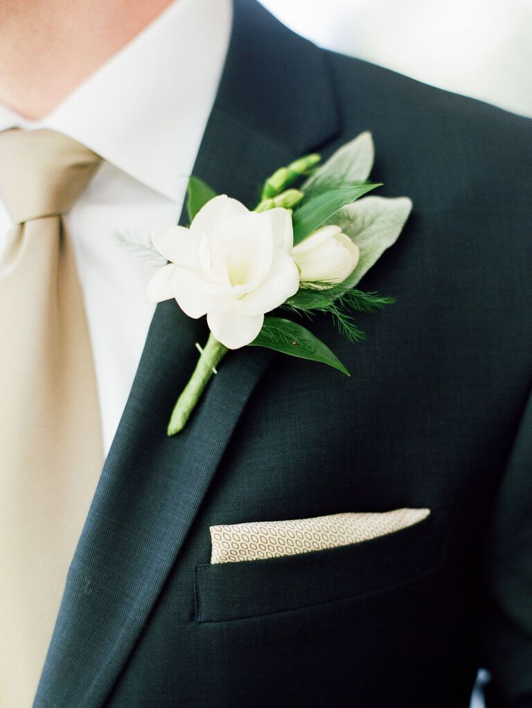 white gardenia wedding boutonniere