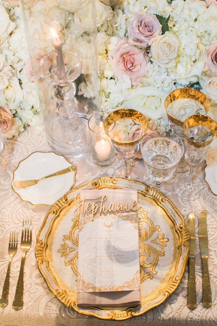 Elegant Gold Place Settings with Laser-Cut Wood Place Cards