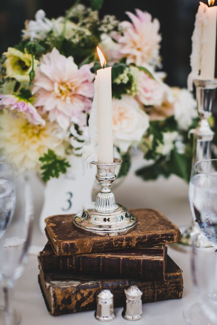 Vintage Tablescape with Stacked Books