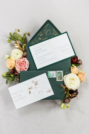 Emerald Invitations for Wedding at The Meridian House in Washington, D.C.
