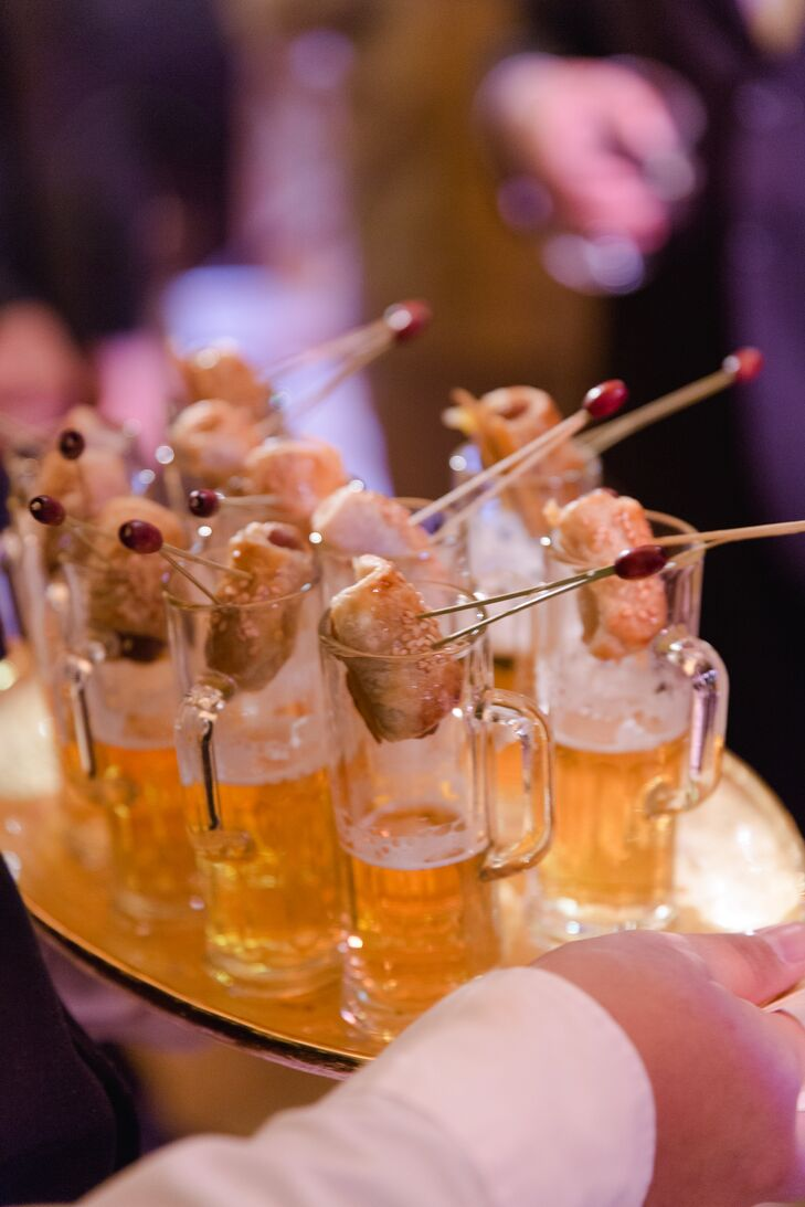 Mini Pigs in a Blanket and Beer Shots
