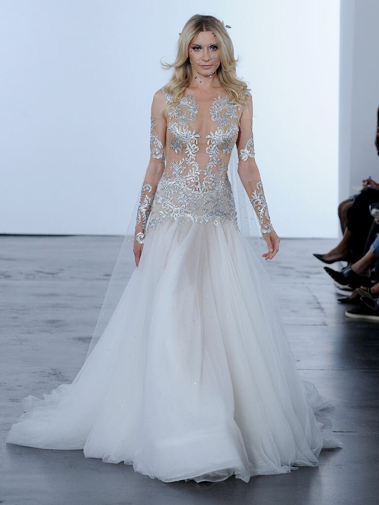 2391f707ca2 Pnina Tornai Fall 2018 wedding dresses with crystal embroidery and tulle  skirt