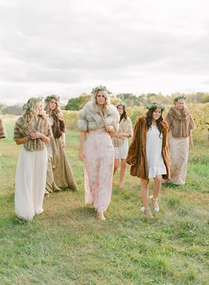 Bridesmaids in Flower Crowns and Fur Wraps
