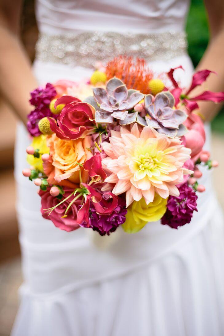 Colorful Succulent And Dahlia Bridal Bouquet