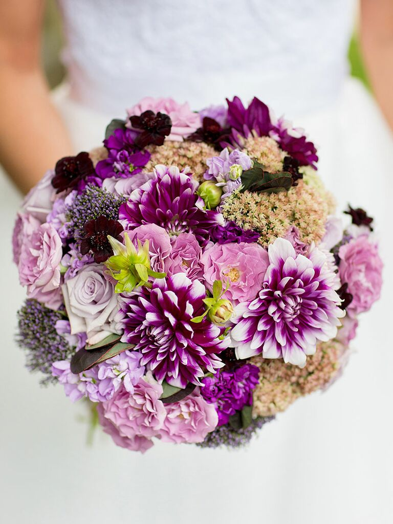 Purple Wedding Bouquet With Dahlias Sedum Roses And Double Stock