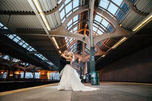 Bride and Groom at Philadelphia Train Station