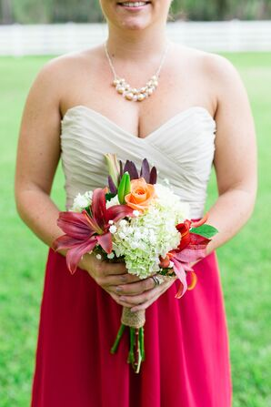 Rustic Red Lily and Orange Rose Bouquet