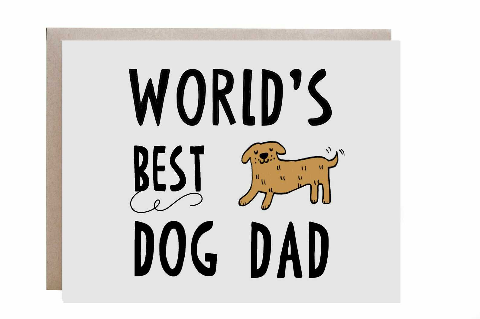 "card with phrase""world's best dog dad"" and dog illustration"