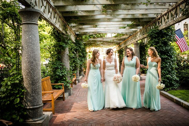 The bridesmaid dresses were an easy decision for Rebecca, who allowed each of the women—her three sisters—to choose a style they loved from Bill Levkoff's bridesmaid line. She asked only that they select gowns in similar fabrics and a shade of mint green to match the wedding's palette.