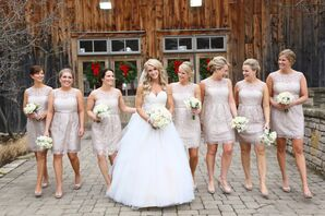 Lace Champagne-Colored Bridesmaid Dresses