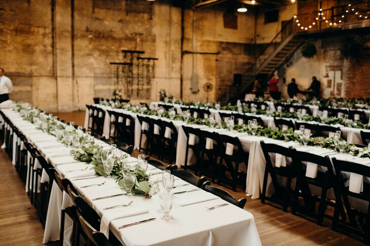 Long Reception Tables at Urban Warehouse Wedding in Detroit, Michigan